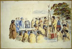 Reconstruction by unknown artist of the Treaty being signed. New Zealand. Department of Maori Affairs. Artist unknown : Ref: A-114-038. Alexander Turnbull Library, Wellington, New Zealand. http://natlib.govt.nz/records/22701985