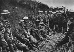 Ration party of the Royal Irish Rifles on the Somme, probably 1 July 1916. Public domain, from Wikimedia Commons http://en.wikipedia.org/wiki/File:Royal_Irish_Rifles_ration_party_Somme_July_1916.jpg