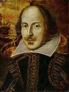 William Shakespeare, the 'Flower' portrait c1820-1840, public domain via Wikimedia Commons.