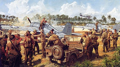 """""""Warm Reception"""" by Jim Dietz of the Guadalcanal Cactus Air Force."""