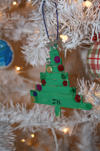 A kindergarten ornament made by my little guy a couple of years ago.