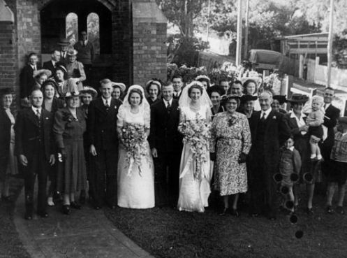 These are NOT my grandparents, but two different couples getting married at about the same time my grandparents did.
