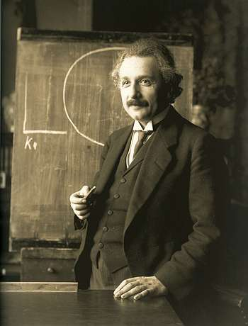 Albert Einstein lecturing in 1921 - after he'd published both the Special and General Theories of Relativity. Public domain, via Wikimedia Commons.