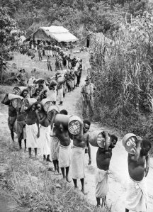 Papuan natives, known affectionately to the Australians as 'Fuzzy-Wuzzy angels', carry supplies during the fighting near Wau in New Guinea. The Australian forces owed much to native carriers who kept the forward troops supplied and helped to evacuate the wounded. AUS 1726 Part of AUSTRALIAN SECOND WORLD WAR OFFICIAL COLLECTION