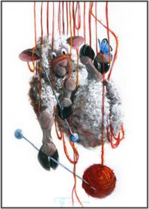 HIGH STRUNG - cute Sheep Incognito knitting yarn print signed